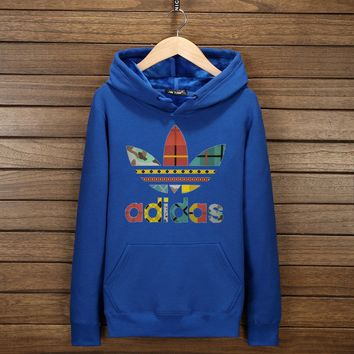 Women Men Couple Adidas Print Hoodie Sweatshirt Tops Sweater Pullover 7-Color Blue I-YSSA-Z