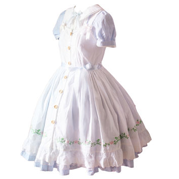 2016spring Lolita Dress Princess Style Rose Embroidery Short-sleeve Twinset Short sleeve Puff Peter Pan Collar Nightdown Cosplay