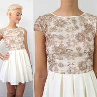CREAM SEQUIN GOLD SWIRL FLORAL MESH EMBROIDERY SKATER DRESS XS S M L