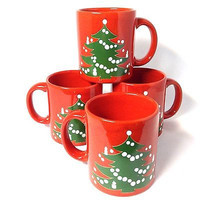 Set of 4 Waechtersbach Christmas Tree Coffee Mugs