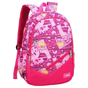 2016 Children Nylon School Bag High Quality Alleviate Burdens graffiti lady Backpack Casual Bags Backpacks For Teenage Girl Boy