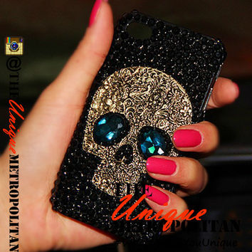 Metal Skull Sapphire Eyes Rhinestone Diamond Crystal Shinny Studded Bling Apple iPhone 6 Plus / 6 / 5 / 5c / 5s / 4 / 4s Case Cute New iph3
