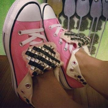 CREYON custom studded pink converse all star high tops chuck taylor all colors sizes