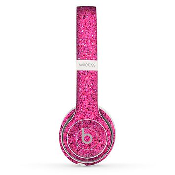 The Pink Sparkly Glitter Ultra Metallic Skin Set for the Beats by Dre Solo 2 Wireless Headphones