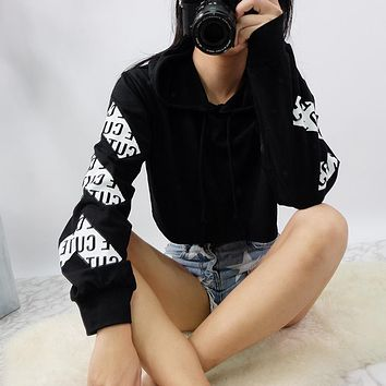 Hoodies Tops Winter Long Sleeve Alphabet Print Crop Top Hats [256904003610]
