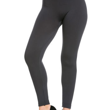 High Waist Fleece Leggings Charcoal
