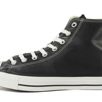 Unisex Chuck Taylor Hightop Black Leather Sneakers