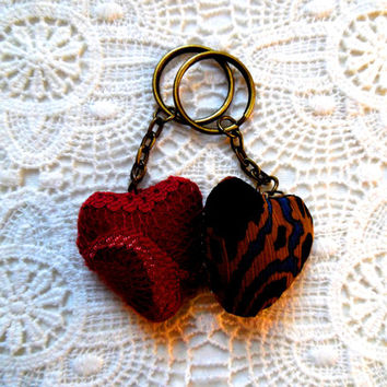 Cute pink/red/lace/brown/blue/gold/felt/chiffon/stuffed/hearts/bronze key chains