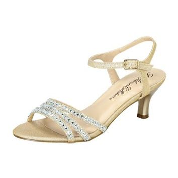 Strappy Low Heel Sandal with Crystals by Blossom - Davids Bridal