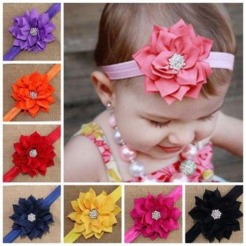 PEAP78W Fashion Cute Children Flower Hair Band Head Hoop Beautiful Lotus Rhinestone Headband H9
