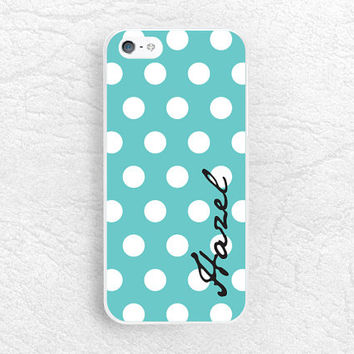 Mint Polka dots Custom Phone Case for iPhone, Sony z1 z3, LG g3 g2 Nexus 6, Moto X Moto G, Tiffany blue monogram case with personalized name