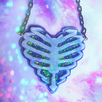 Fairydust Ribcage Heart Necklace, Fairy Kei, Pastel Goth, Creepy Cute