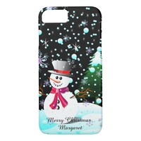 "Snowman ""Merry Christmas"" personalised iPhone 8/7 Case"