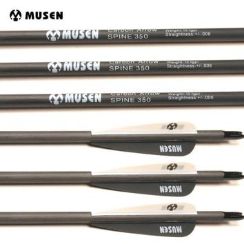 "Musen 31"" Spine, 500 Carbon Arrows w/ Real Turkey Feather Fletch 12pcs"