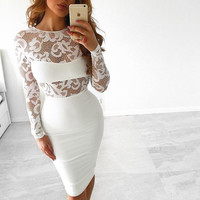 Long Sleeve Lace Sexy Club Bandag Bodaycon Dress 2016 Autumn White Black Hight Quailty Women Elegant Party Dress Hollow out
