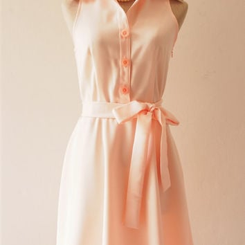 DOWNTOWN - Shirt Dress, Pale Peach Pink Bridesmaid Dress, Light Peach Casual Dress, 1950 Midi Dress, Smart Casual Dress, XS-XL,Custom