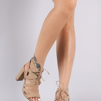 Delicious Nubuck Strappy Cage Lace-Up Chunky Heel