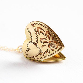 Vintage Heart Locket - Mid Century 10k Rosy Yellow Gold Filled Necklace - 1940s WWII Sweetheart Leaf Pendant Photograph Keepsake Jewelry