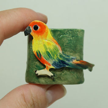 Sun Conure  Mini planter for Air Plant and moss Miniature planter