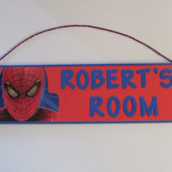 Spiderman Personalized Name Room Decor Sign - Spider Man Room Decor - Spiderman Wall Decor
