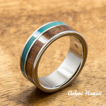 Titanium Ring with Turquoise and Hawaiian Koa Woodm Inlay (8mm width,  Flat Style)
