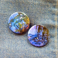 "Water Lillies 1 1/4"" Button Pair Claude Monet"