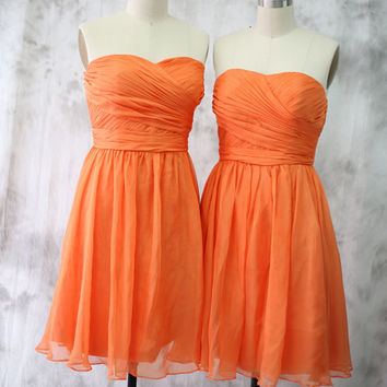 Cocktail Dress, Orange Bridesmaid dress, Wedding dress, Short Chiffon dress, Party dress, Strapless dress, Formal dress, Prom dress