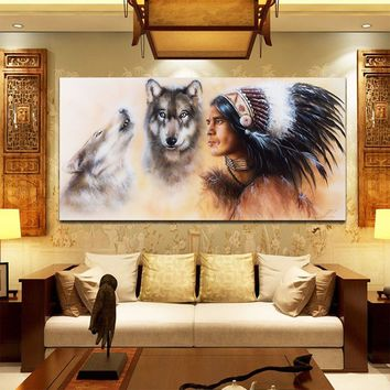 Indian Man Wolf Canvas Oil Painting Print Picture Home Wall Art Decor Unframed
