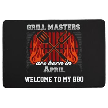 Grill Masters Are Born In April Personalized Floor Mat