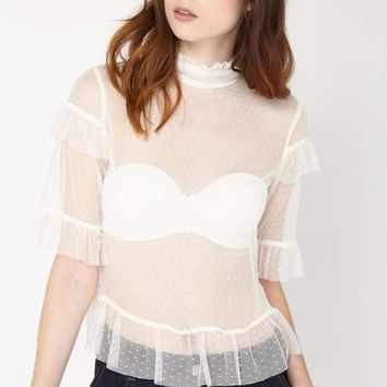Cream Ruffle Spot Mesh Top - Tops - Apparel