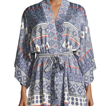 Kapi Printed Short Wrap Robe, Size: