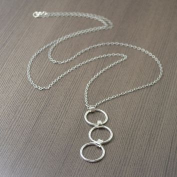 Hand fabricated Long sterling silver triple hoop statement necklace, 30 inches
