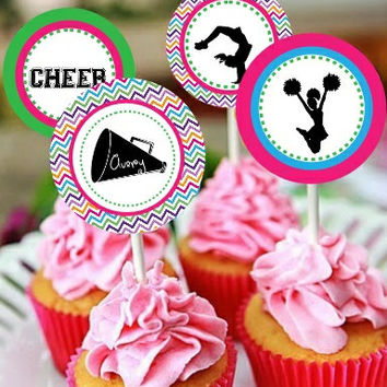 Cheerleading Themed Printable Cupcake Toppers