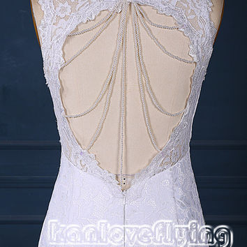 Elegant white lace mermaid wedding dresses gowns,key hole back chapel train wedding dress,2015 popular affordable wedding dress bridal gowns