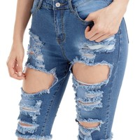 Raw Edge Distressed Jean Shorts