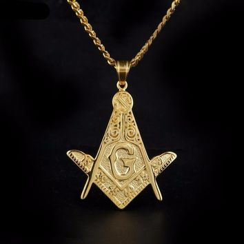 Numbered Square & Compass Gold Freemason Necklace