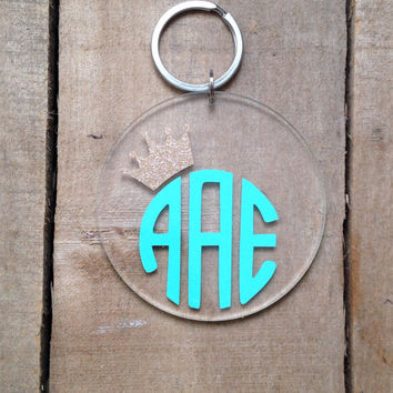Crown monogrammed keychain by BbsMonograms on Etsy