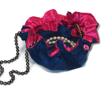 Drawstring Travel Jewelry Pouch / Satchel - Denim Look with Pink Satin