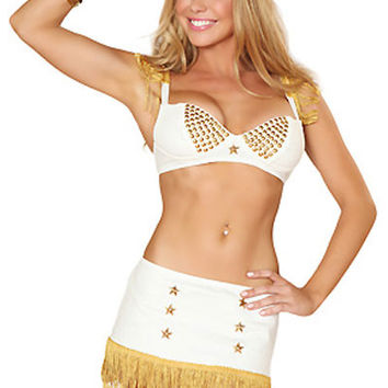 White Bra Top wit Gold Bead Accent and Fringed Skirt Rush Racer Costume
