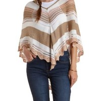 White Combo Striped Hooded Poncho Sweater by Charlotte Russe