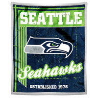 Seattle Seahawks NFL Mink Sherpa Throw (50in x 60in)