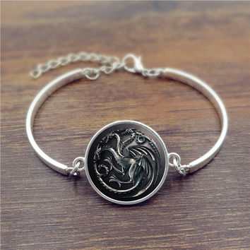 Glass Cabochons bracelets & bangles Game of Thrones House Targaryen Silver Fashion Jewelry Adjustable Charm Bracelet