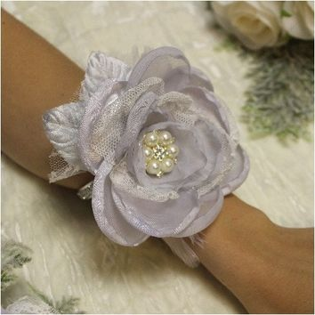 MOTHER OF THE BRIDE wrist corsage rhinestone bracelet - silver