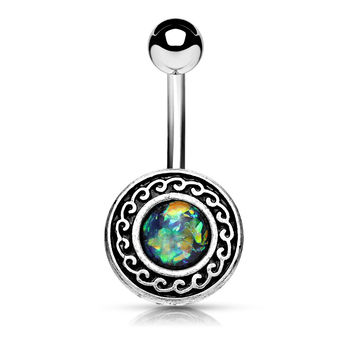 Green Antique Silver Plated Tribal Shield with Opal Glitter Center 316L Surgical Steel Belly Rings