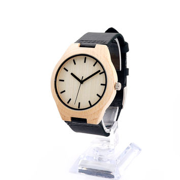 Maple Wooden Watches Mens Luxury Top Brand Fashion Unisex Brown Leather Quartz Watch Women Casual Wrist watch