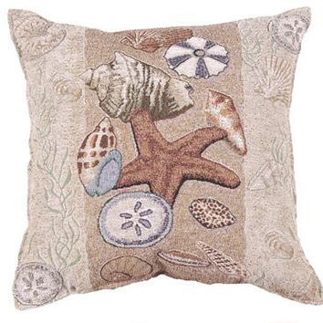 Seashells Throw Pillow - Spot Clean