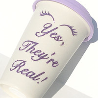 Younique Fiber Lashes Glitter Coffee Mug - To Go Coffee Cup - Travel Coffee Mug - Purple Glitter