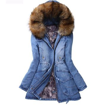 Fur collar hooded winter jacket women,denim parka female coats,autumn/winter parkas,cotton jacket lady denim overcoat TT1546