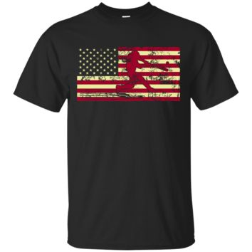 Male Baseball Player Silhouette On The American Flag Custom Ultra Cotton T-Shirt