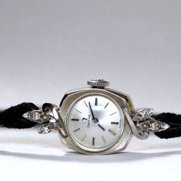MDIGDC0 Vintage 14K White Gold & Diamonds Ladies Omega Black Band Cocktail Wrist Watch